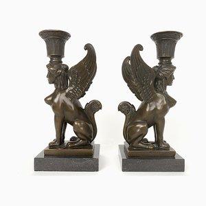Vintage Bronze Sphinx Candleholders by Milo for Paris J.B. Deposee, 1980s, Set of 2