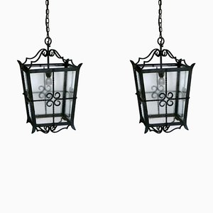 Mid-Century Large Italian Wrought Iron Ceiling Lamps, Set of 2