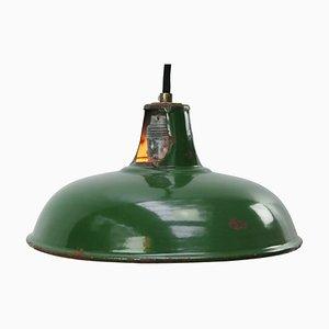 Lampada a sospensione vintage industriale smaltata verde, Regno Unito