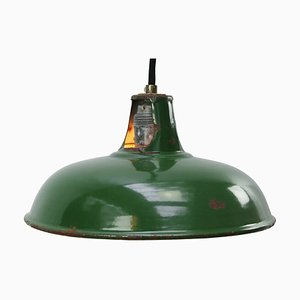 Vintage Industrial British Green Enamel Pendant