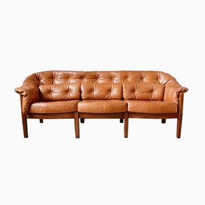 Scandinavian Leather Club Sofa by Arne Norell, 1960s