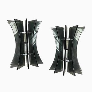 Italian Murano Green Beveled Glass Sconces in the Style of Fontana Arte, 1960s, Set of 2