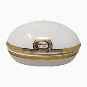 Italian White and Gold Trussardi Box in Porcelain from Trussardi, 1980s
