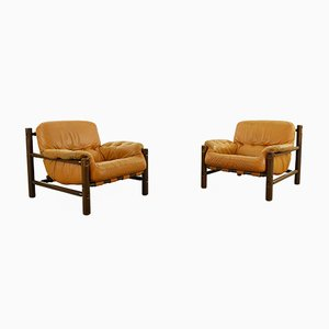 Mid-Century Brazilian Cognac Leather Lounge Chairs, Set of 2