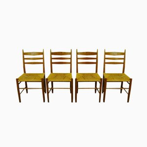 Scandinavian Oak and Paper Cord Dining Chairs, Set of 4