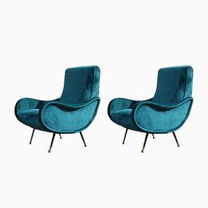Italian Green Velvet Lounge Chairs, 1950s, Set of 2
