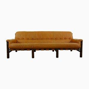Mid-Century Brazilian Sofa in Cognac Leather