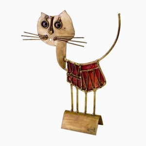 Vintage French Brutalist Sculpture of a Cat by Jarc