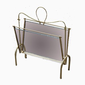 Italian Brass Magazine Rack with Transparent Glass, 1950s
