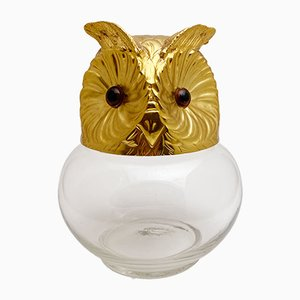 Vintage Glass and Metal Owl Candy Box