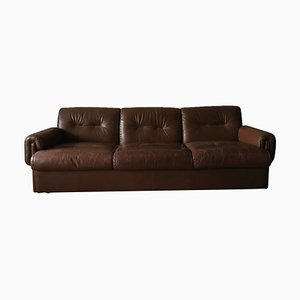Mid-Century Swiss Stitched Brown Leather 3-Seater Sofa