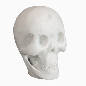 Vintage English White Marble Skull Paperweight, 1980s