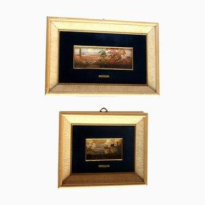 Lucio Cargnel, Landscape Oil Paintings, Original Frames, 1940s, Set of 2