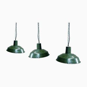 Industrielle Grüne Emaillierte Fabrik Deckenlampe, 1960er