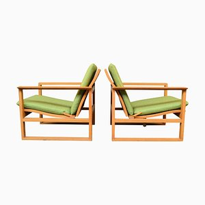 Oak 2256 Lounge Chairs by Børge Mogensen for Fredericia, 1950s, Set of 2
