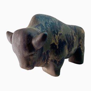 Vintage West German Ceramic Buffalo from Ruscha