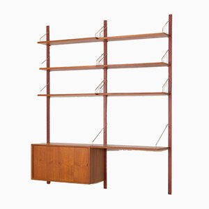 Teak Wall Unit with 6 shelves, Desk & Cabinet by Poul Cadovius, 1960s