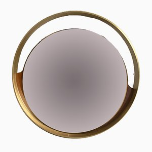Mid-Century Modern Italian Round Gold Mirror With Gilt Frame and Wooden Details