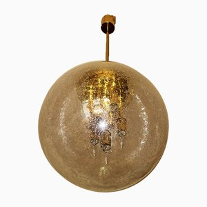 Large Frosted Glass and Brass Pendant Lamp by Ger Furth for Doria Leuchten, 1960s