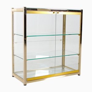 Hollywood Regency Glass & Brass Cabinet, 1970s