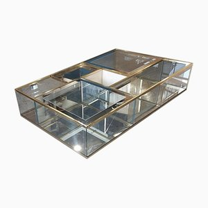 Vintage Italian Crystal Coffee Table with Brass Details