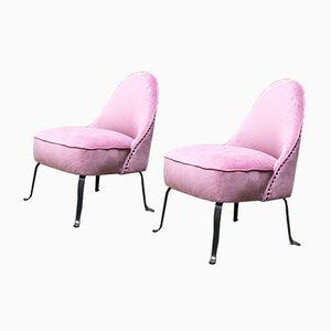 Italienische Mid-Century Sessel aus Rosa Samt & Metall, 1950er, 2er Set