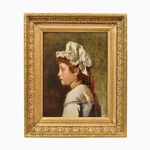 Antique Painting, Young Woman Portrait Painting, French Oil Painting on Canvas, 19th Century