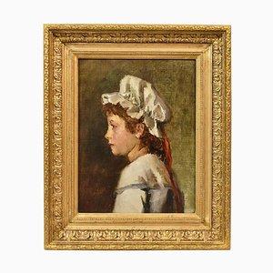 Peinture Antique, Portrait de Jeune Femme, Peinture à l'Huile sur Toile, France, 19ème Siècle