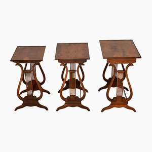 Antique Regency Style Yew Wood Nesting Tables, 1920s