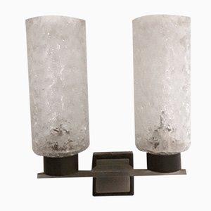 Wandlampe mit grauer Metallhalterung, 1960er