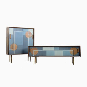 Mid-Century Modern Scandinavian Hand-Painted Birch Cabinet & Sideboard, 1960s, Set of 2