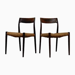Mid-Century Model 77 Side Chairs by Niels Otto Møller for J.L. Møllers, Set of 6