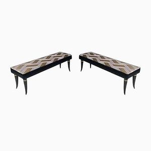 Benches with Patterned Fabric Upholstery from Dedar, Italy, 1950s, Set of 2