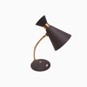 Mid-Century Modern Table Lamp with Black Shade, 1950s