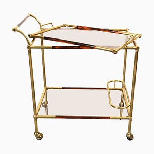 Mid-Century Brass and Lucite Trolley in the style of Willy Rizzo, 1970s