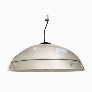 Vintage Incalmo Opaline with Black Morisa Ceiling Lamp by Lino Tagliapietra for Effetre