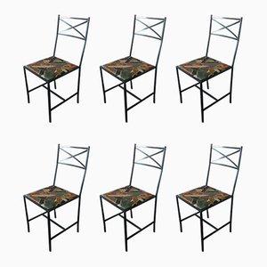 Schmale Veranda Stühle aus Metall, 1980er, 6er Set