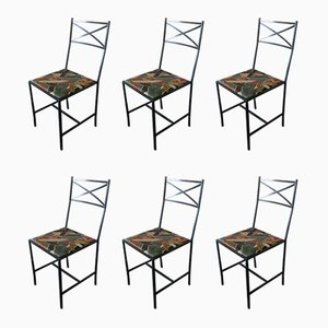 Slender Porch Metal Chairs, 1980s, Set of 6