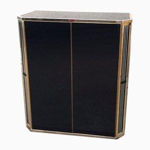 Hollywood Regency Style Belgian Black Mirror Glass & Brass Highboard Buffet, 1980s