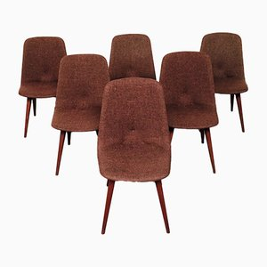 Scandinavian Rosewood Dining Chairs with Woven Wool Seats, 1960s, Set of 6