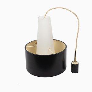 Opaline Glass & Enameled Metal Suspension Lamp from Stilnovo, 1950s