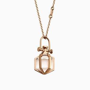 Collar colgante Mini Six Senses minimalista de oro rosa de 18 quilates pendiente talismán transparente de Rebecca Li