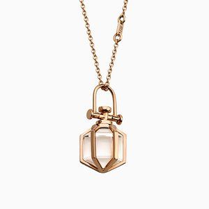 Modern Minimalist Sacred 18k Solid Rose Gold Mini Six Senses Talisman Pendant Necklace with Natural Clear Rock Crystal by Rebecca Li