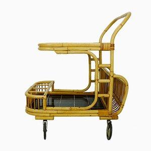 Chariot en Bambou, Rotin & Formica Noir avec Porte-revues de FM, 1950s