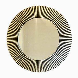 Specchio a forma di sole in legno massiccio e foglia d'oro, anni '50