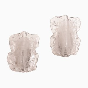 Ice Glass Sconces by J. T. Kalmar for Kalmar Franken KG, 1970s, Set of 2
