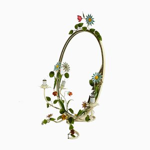 Floral Metal Hand-Painted Mirror, 1950s