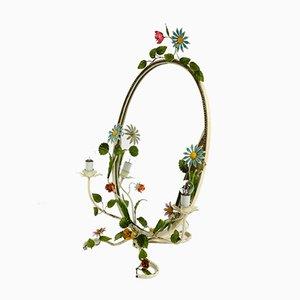 Specchio floreale in metallo dipinto a mano, anni '50