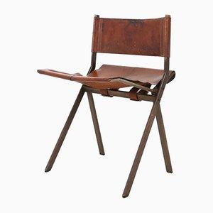 Belgischer Mid-Century Metall und Leder Beistellstuhl von Emile Souply