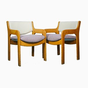 Sedie da pranzo vintage in legno e glicine, anni '70, set di 2